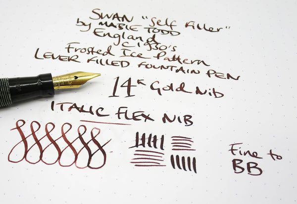 Vintage SWAN Self Filler Fountain Pen 14k Gold Italic Flex Nib