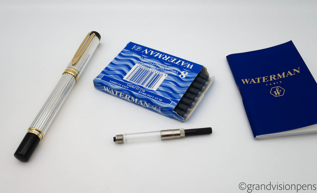 Boxed Waterman Le Man 100 Sterling Silver Fountain Pen 18k Gold Fine Nib (Nr Mint) - Grand Vision Pens UK