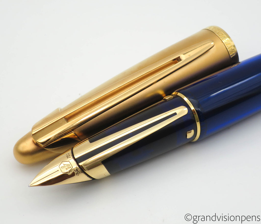 Waterman Edson Fountain Pen Sapphire Blue 18k Gold Fine Nib - Grand Vision Pens UK