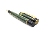 Parker Duofold Centennial MK II Fountain Pen Marbled Jade 18k Medium Nib (Near Mint) - Grand Vision Pens UK