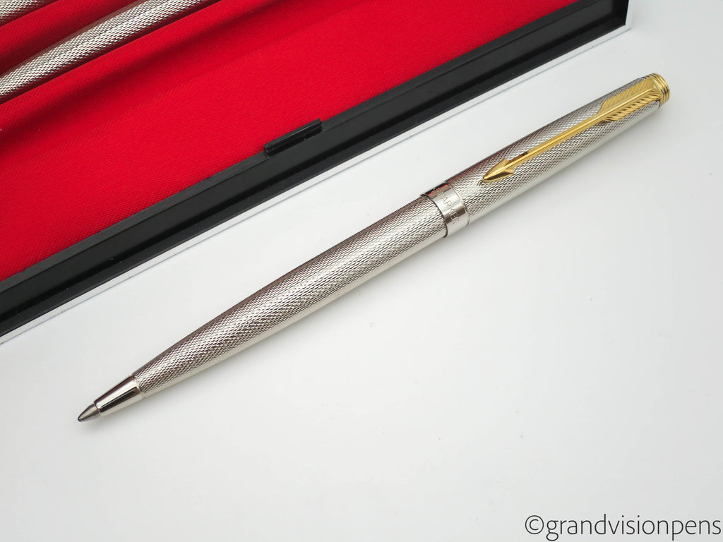 "Boxed Parker 75 ""Milleraies"" Sterling Silver Plated Fountain Pen, Ballpoint & Pencil Triple Set (Near Mint) - Grand Vision Pens UK"