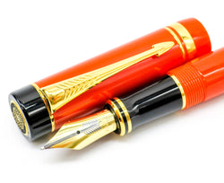 Parker Duofold Centennial Special Edition Orange Fountain Pen 18k Medium Nib