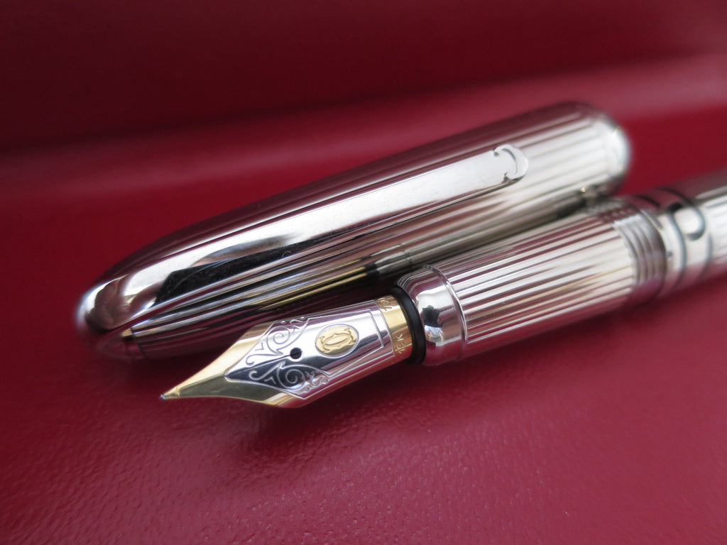Boxed Limited Edition Must Be Cartier Fountain Pen - 18k Gold Medium Nib (Mint Condition) - Grand Vision Pens UK