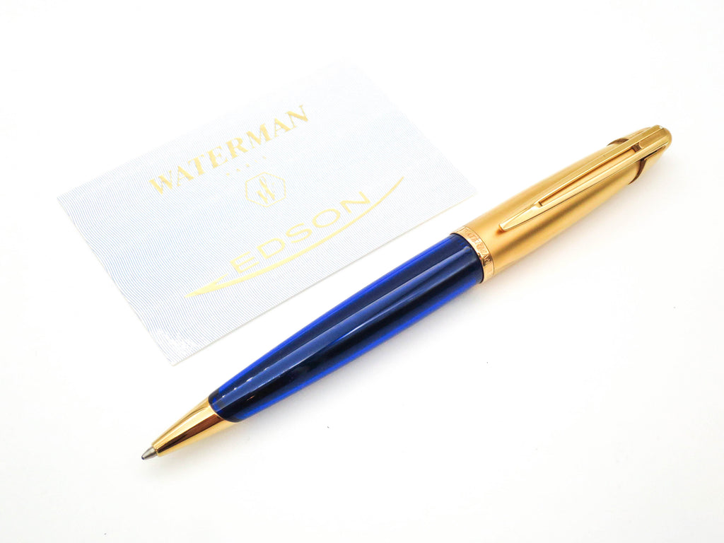 Boxed Waterman Edson Sapphire Blue Ballpoint Pen (Near Mint ) - Grand Vision Pens UK