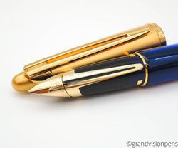 Boxed Waterman Edson Fountain Pen Sapphire Blue 18k Gold Medium Nib (Near Mint)