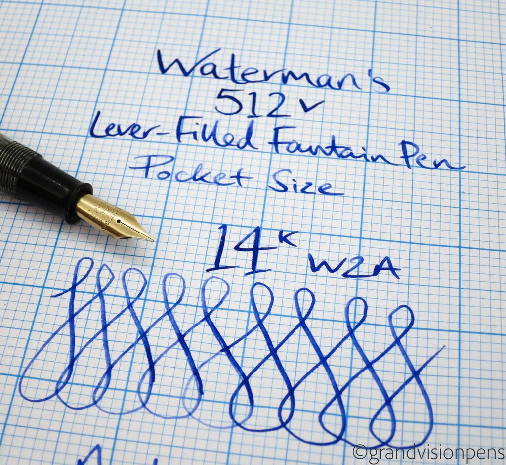 Vintage Waterman's 512 V Fountain Pen 14k Gold Nib (Serviced, Very Good) - Grand Vision Pens UK