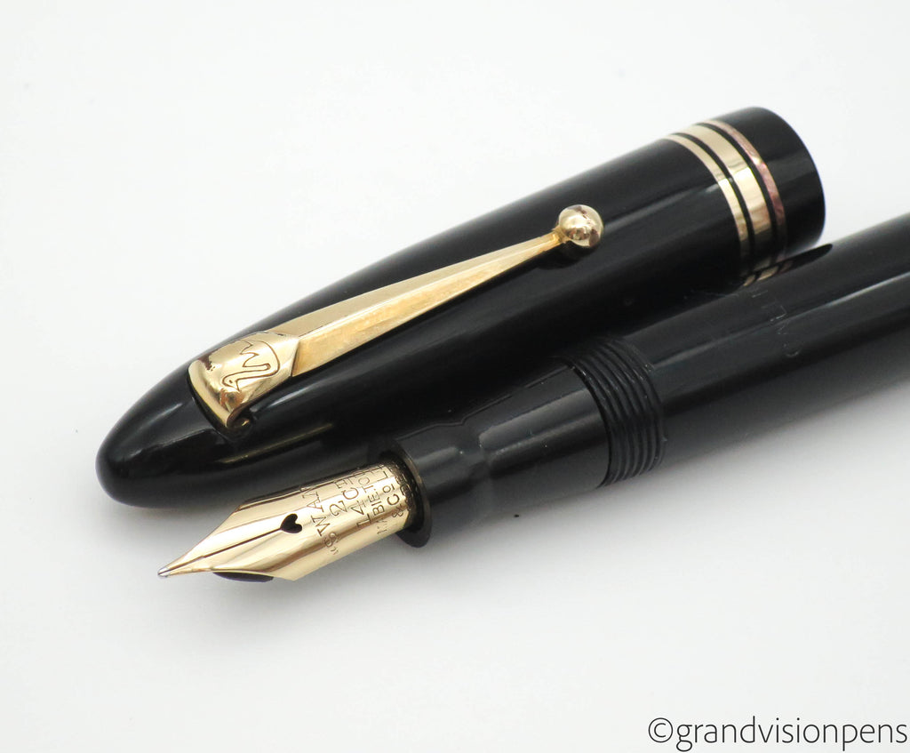 Vintage Swan Calligraph Leverless Fountain Pen 14k Gold Fine Nib (Serviced) - Grand Vision Pens UK