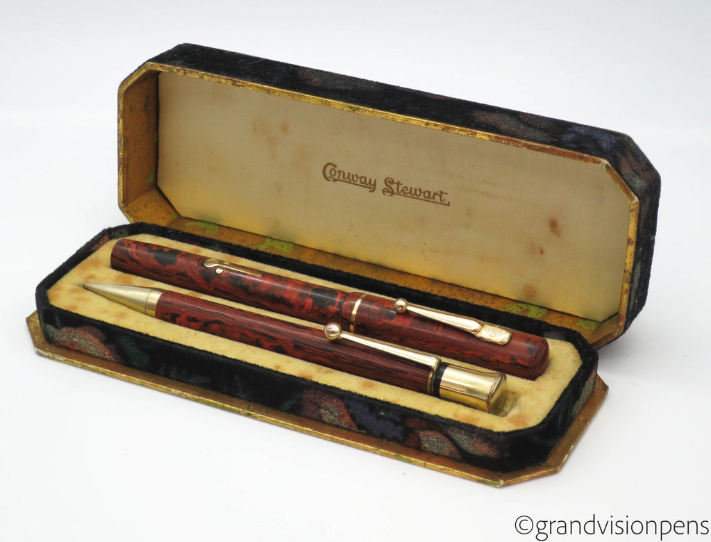 Vintage Conway Stewart Fountain Pen & Pencil Set (Serviced, Excellent) - Grand Vision Pens UK