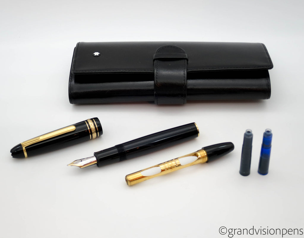 Montblanc Meisterstück 147 Traveller Fountain Pen & Leather Case (Serviced, Excellent) - Grand Vision Pens UK