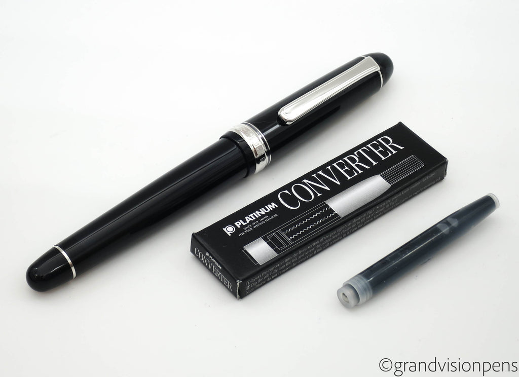 Boxed Platinum 3776 Century Black Diamond Fountain Pen 14k Fine Nib (Mint) - Grand Vision Pens UK