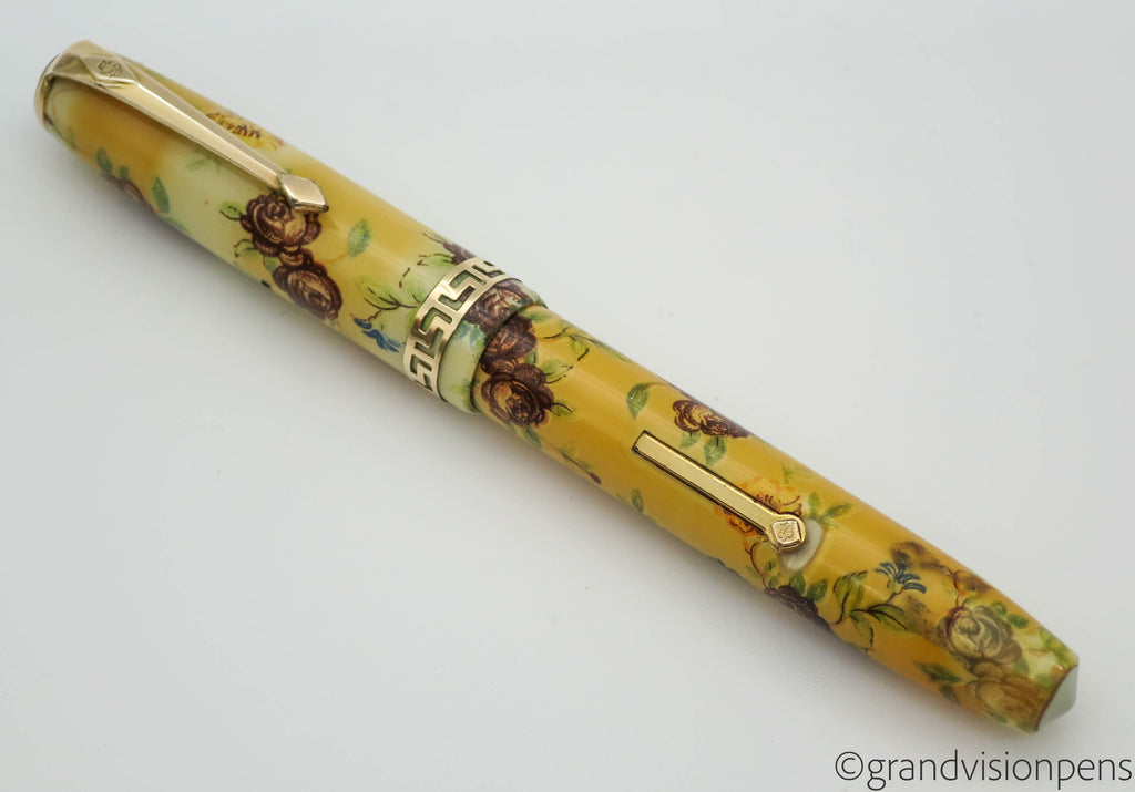 "Boxed Vintage Conway Stewart No.22 ""Floral"" Fountain Pen (Restored, Excellent) - Grand Vision Pens UK"