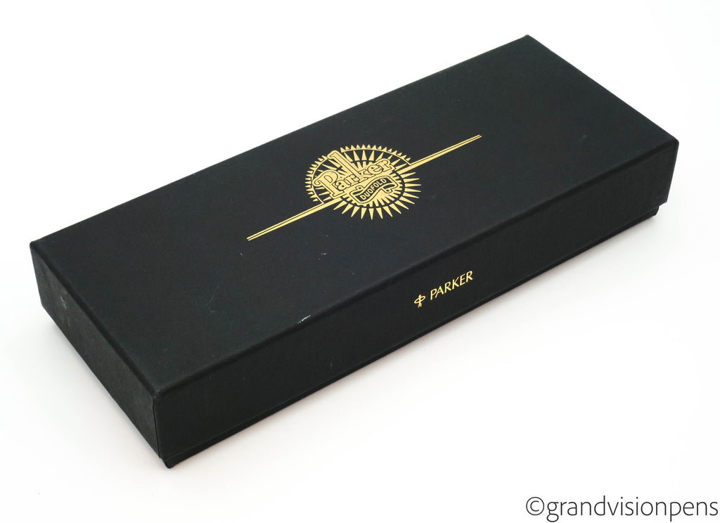 Boxed Parker Duofold Centennial Black Fountain Pen 18k Gold Oblique Nib (Nr Mint)