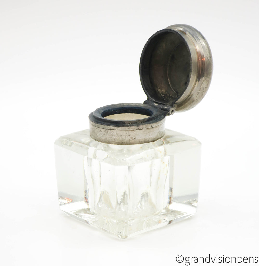 Vintage Cut Glass Inkwell with Pewter Flip Top Lid