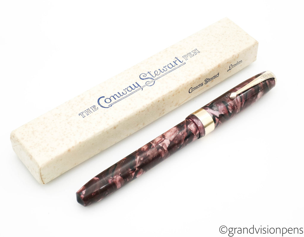 Boxed Vintage Conway Stewart No.27 Fountain Pen 14k Gold Fine Nib (Restored) - Grand Vision Pens UK