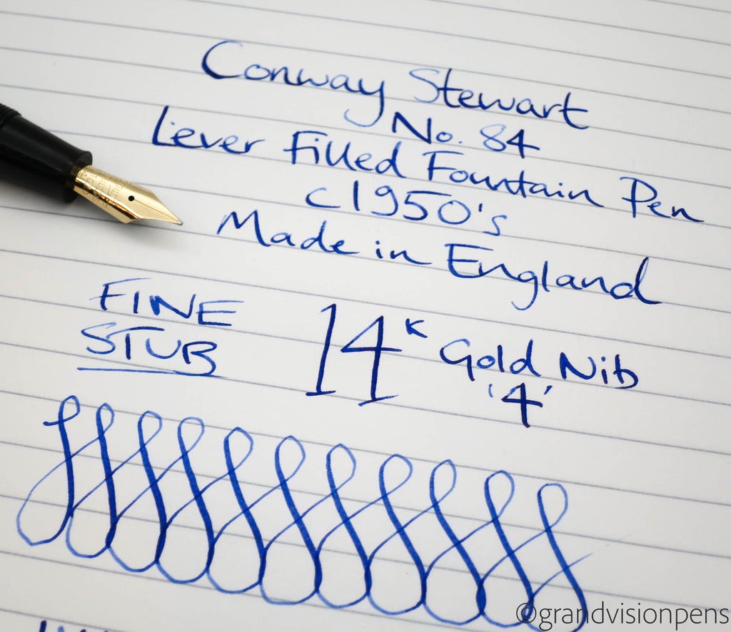 Vintage Conway Stewart No.84 Lever Filled Fountain Pen 14k Gold Stub Nib (Restored) - Grand Vision Pens UK