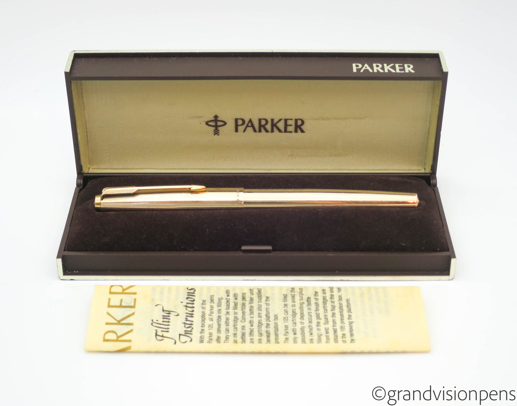 Vintage Parker 65 Custom Classic Rolled Gold Fountain Pen 14k Gold Medium Nib - Grand Vision Pens UK