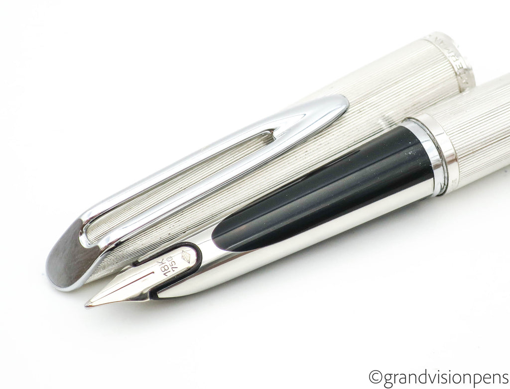 Vintage Waterman C/F Aerometric Fountain Pen Silver Plated 18k Gold Nib (Medium) - Grand Vision Pens UK