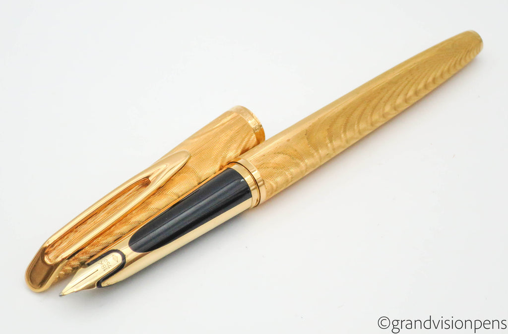 "Vintage Waterman C/F ""Moire"" Aerometric Fountain Pen 18k Gold Medium Nib"