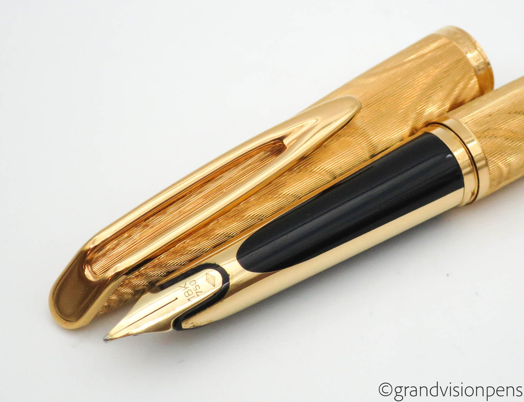 "Vintage Waterman C/F ""Moire"" Aerometric Fountain Pen 18k Gold Medium Nib - Grand Vision Pens UK"