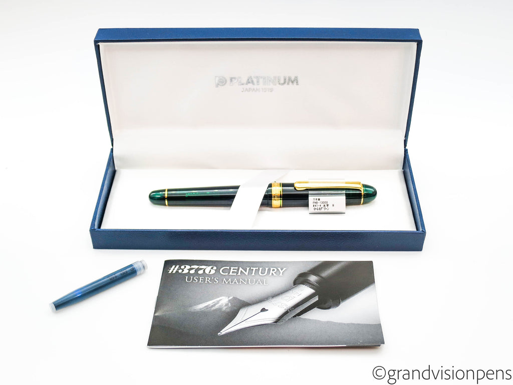 Boxed Platinum 3776 Century Laurel Green Fountain Pen 14k Broad Nib (Mint)