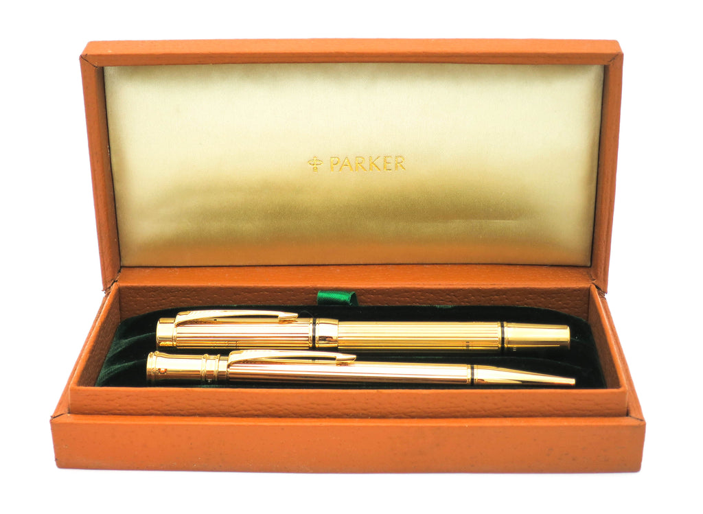 Parker Duofold Presidential Fountain Pen & Ballpoint Pen Retail Samples 18k OM Nib
