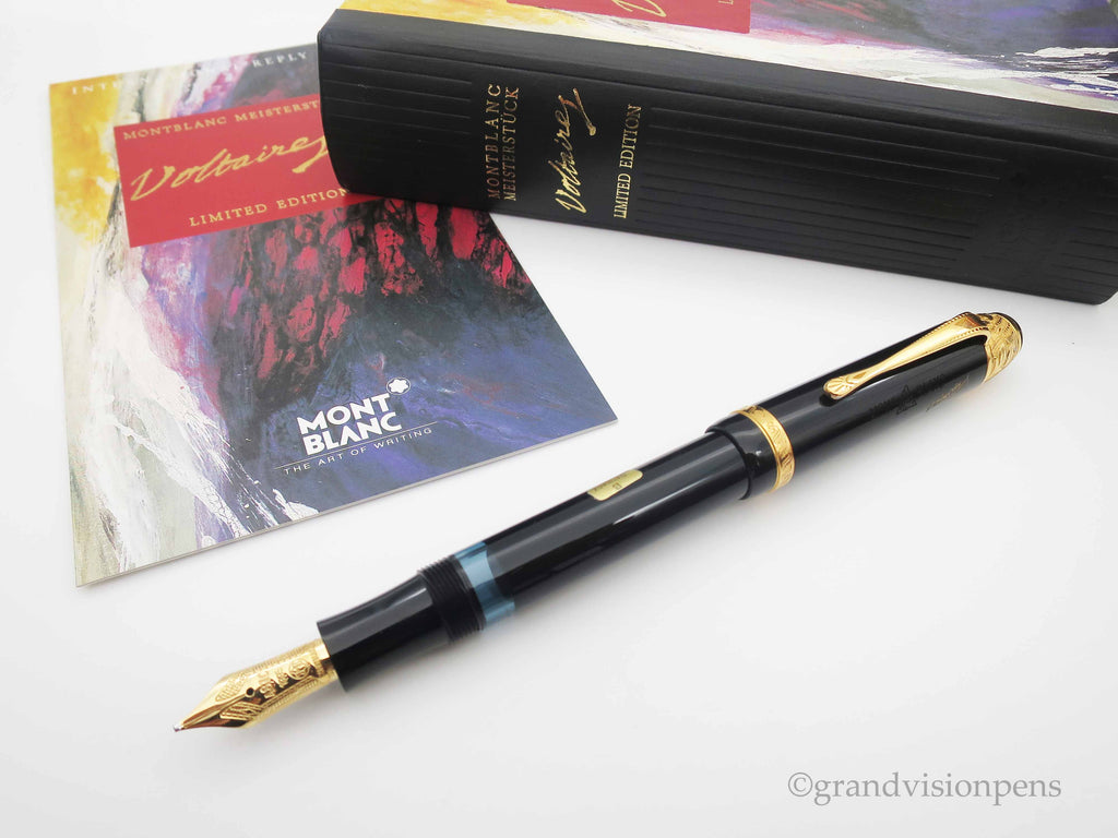 Boxed Mont Blanc Writer's Edition 'Voltaire' Limited Edition Fountain Pen - Broad Nib (Near Mint Condition) - Grand Vision Pens UK