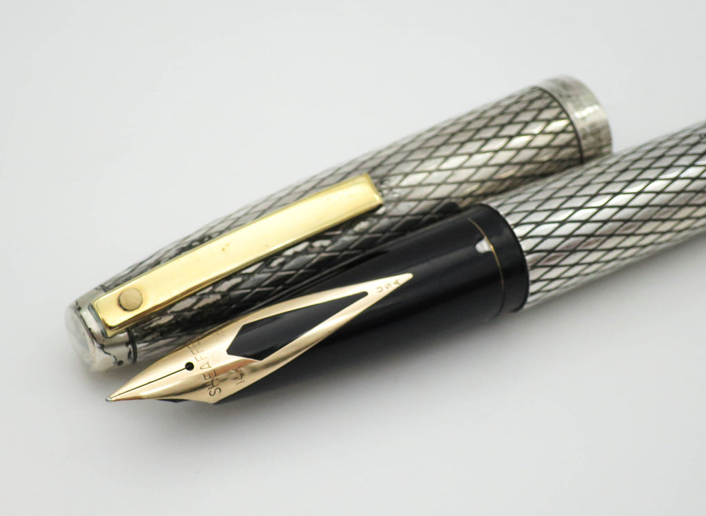 Vintage Sheaffer Imperial Sterling Silver Fountain Pen 14k Gold Fine Nib - Grand Vision Pens UK