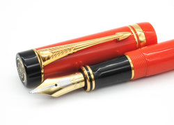 Parker Duofold Centennial Orange Special Edition Fountain Pen 18k Medium Nib