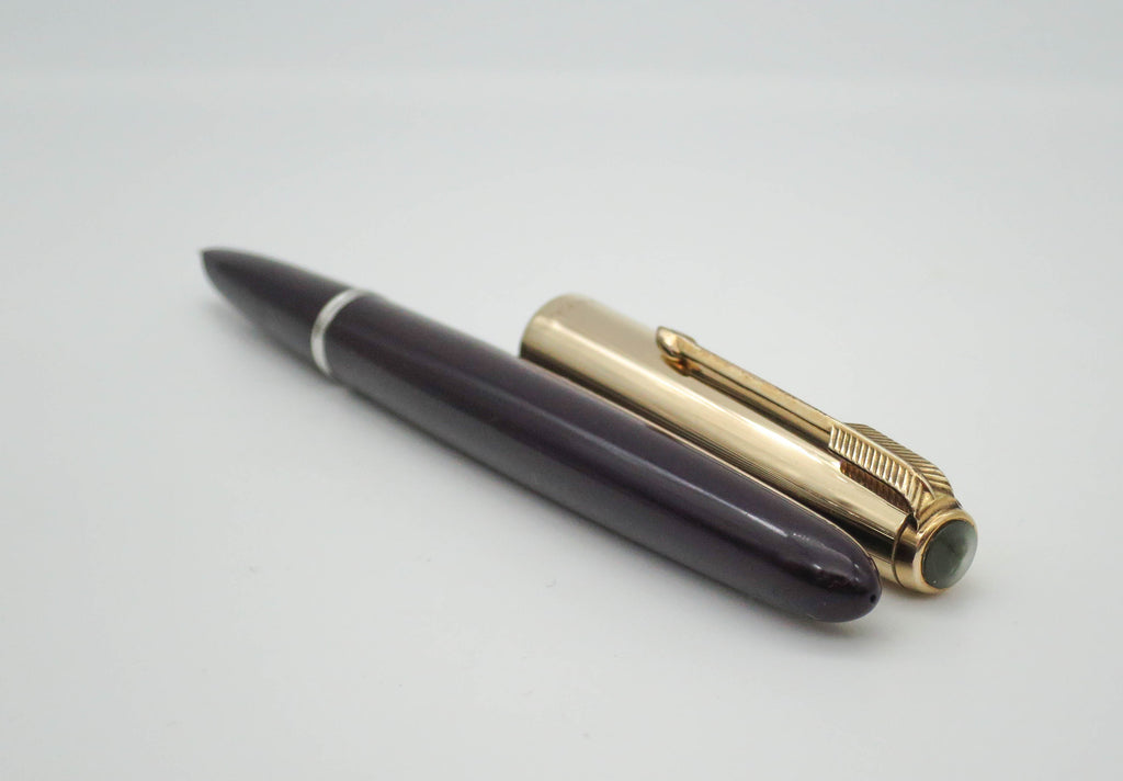 Vintage Parker 51 Plum Aerometric Fountain Pen MKII 14k Gold Fine Nib - Grand Vision Pens UK