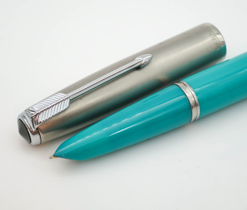 Rare Vintage Parker 51 Blue Aerometric Fountain Pen MKII 14k Fine Nib - Grand Vision Pens UK