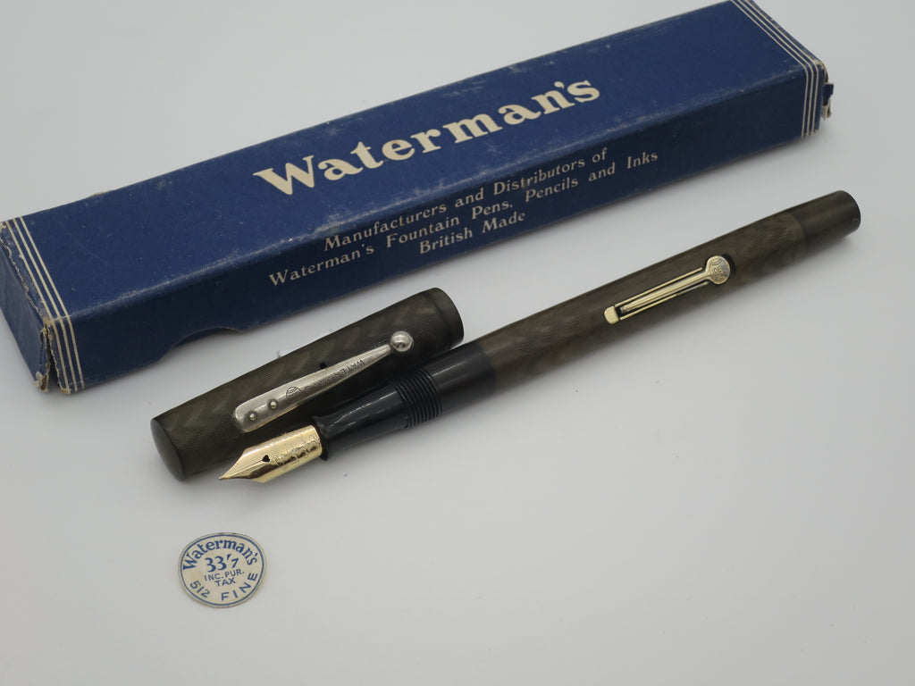 Boxed Antique Watermans IDEAL Lever Filled Fountain Pen - Medium Semi Flex - (Serviced, Very Good Condition) - Grand Vision Pens UK