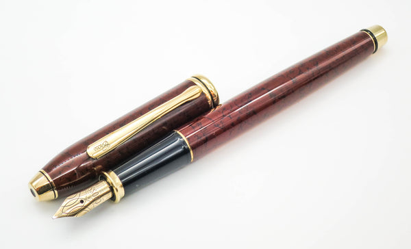 Boxed CROSS Townsend Sienna Brown Marbled Lacquer Fountain Pen 18k Stub Nib - Grand Vision Pens UK