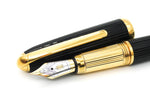 Boxed Cartier Black Composite Godron Fountain Pen 18k Medium Nib - Grand Vision Pens UK