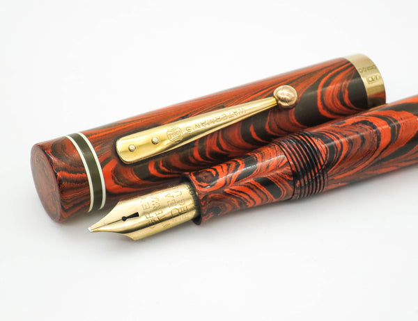 Vintage Waterman Ideal No.5 Red Ripple Fountain Pen 14k Oblique Keyhole Nib - Grand Vision Pens UK