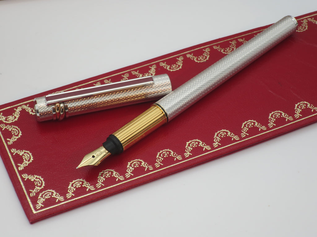 Boxed Vintage Must Be Cartier Sterling Silver Slimline Limited Edition Fountain Pen - Fine Nib (Un-inked, Excellent Condition) - Grand Vision Pens