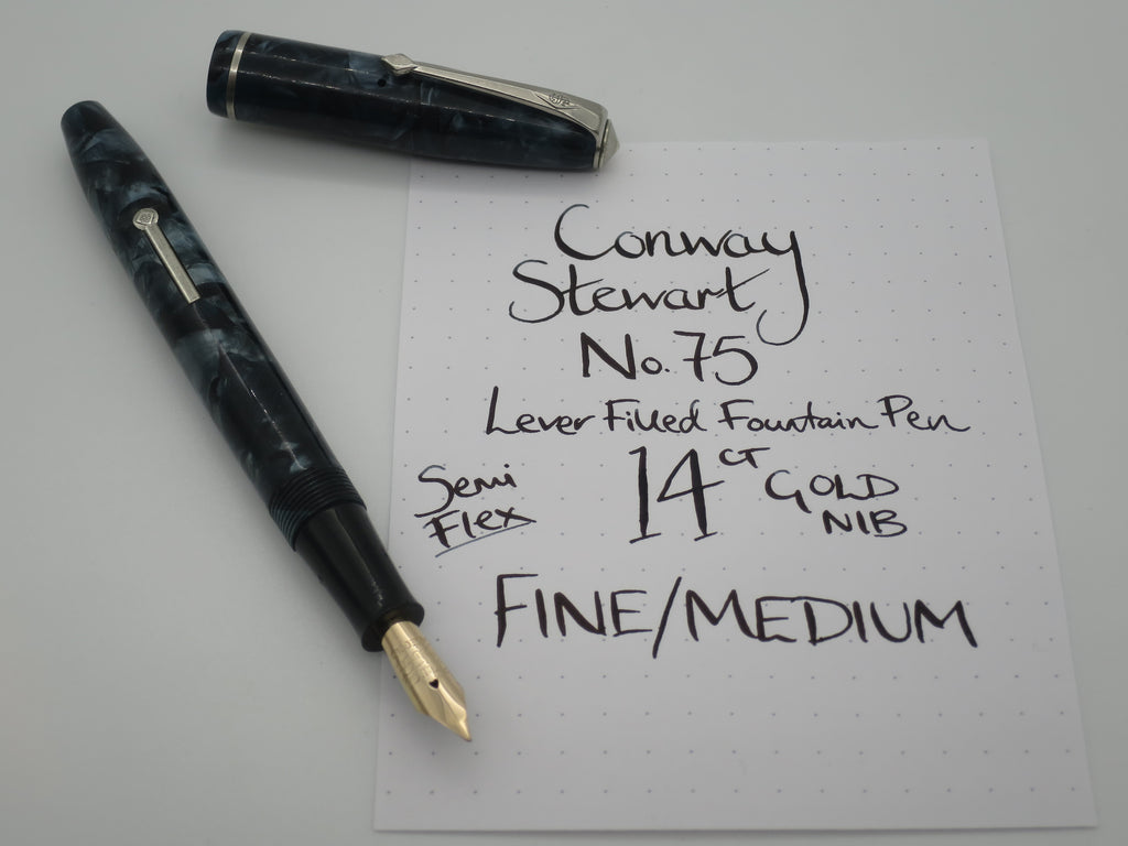 Vintage Conway Stewart No.75 Lever Filled Fountain Pen 14k Gold Semi Flex Nib - Medium (Very Good Condition) - Grand Vision Pens UK