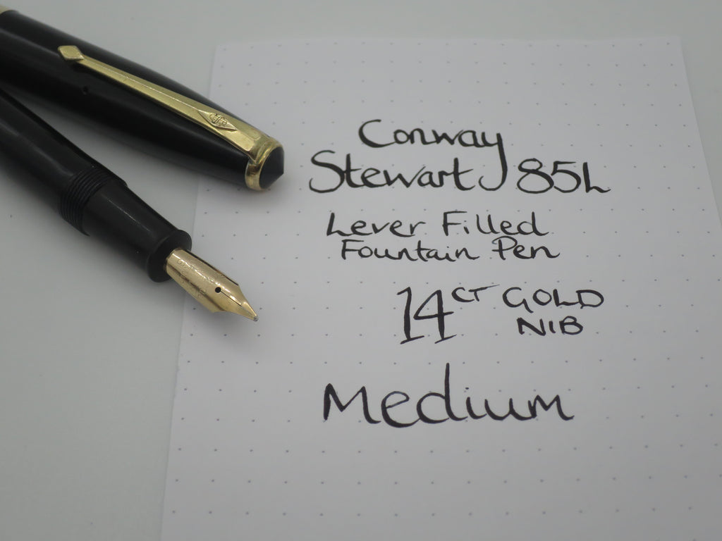 Vintage Conway Stewart 85L Lever Filled Fountain Pen - 14k Gold Nib - Medium (Serviced, Very Good Condition) - Grand Vision Pens UK