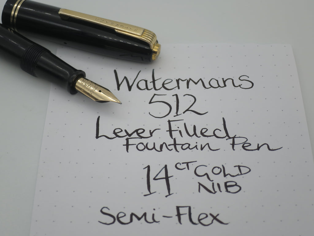Vintage Waterman's 512 Lever Filled Fountain Pen - 14k Gold Semi Flex Nib (Very Good Condition) - Grand Vision Pens UK