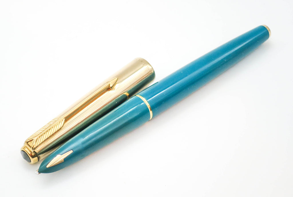Vintage Parker 61 Caribbean Green Fountain Pen 14k Gold Oblique Medium (OM) Nib
