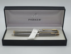 Boxed Parker 75 Sterling Silver Ciselle Fountain Pen & Ballpoint Pen Set - (Very Good Condition)