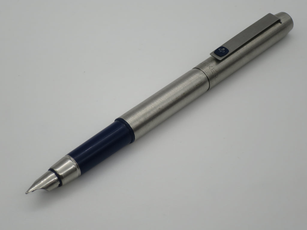 Vintage Parker 25 Fountain Pen Stainless Steel with Blue Arrow Logo c1980's (Excellent Condition) - Grand Vision Pens UK