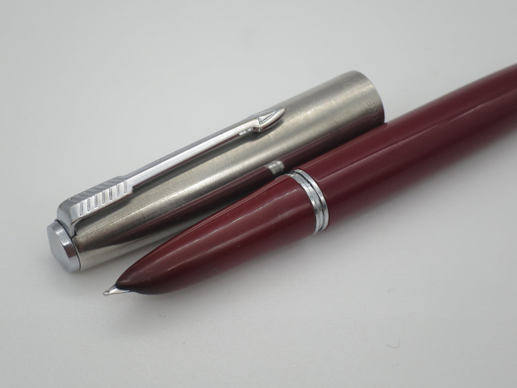 Vintage Parker Super 21 Aerometric Fountain Pen Burgundy & Lustraloy - Fine Nib (Good Condition) - Grand Vision Pens UK