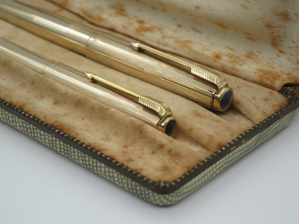 Boxed Vintage Parker 51 Signet Aerometric Fountain Pen & Pencil Set - Rolled Gold - Fine Nib (Very Good Condition) - Grand Vision Pens UK