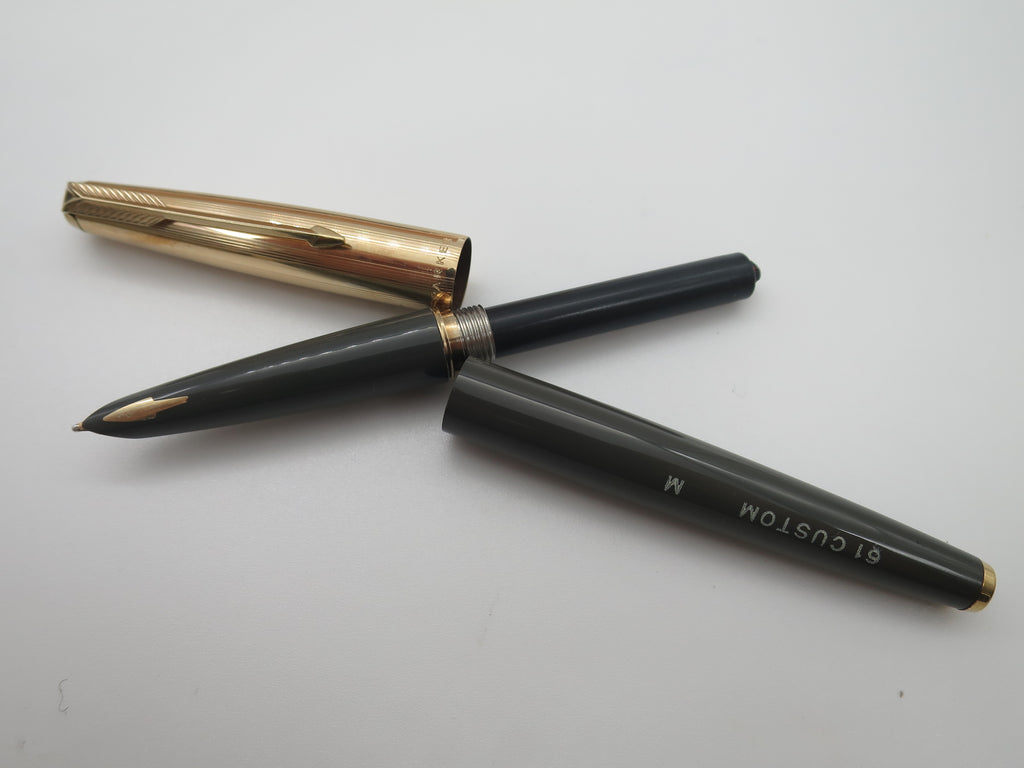 Boxed Vintage Parker 61 Custom Fountain Pen, Ballpoint & Pencil Set (Un-inked Near Mint Condition) - Grand Vision Pens UK