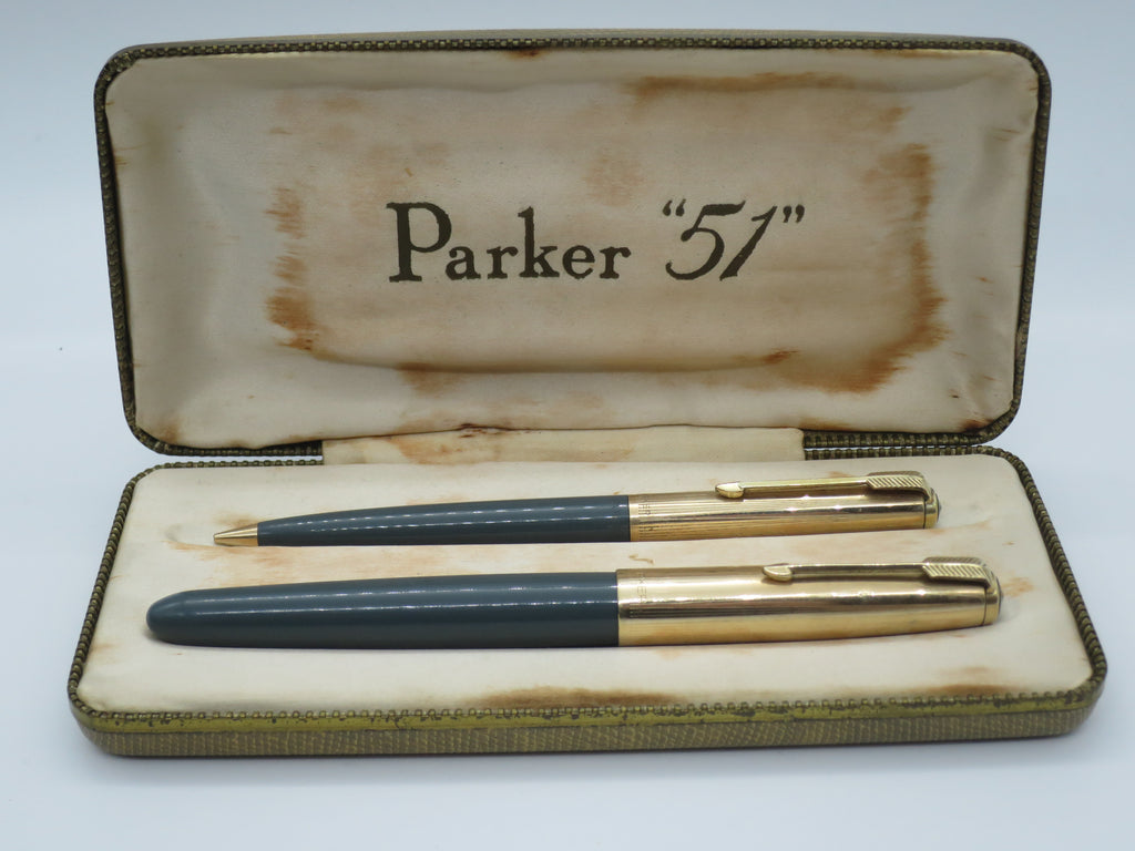Boxed Vintage Parker 51 Grey Rolled Gold Aerometric Fountain Pen & Pencil Set (Very Good Condition) - Grand Vision Pens UK