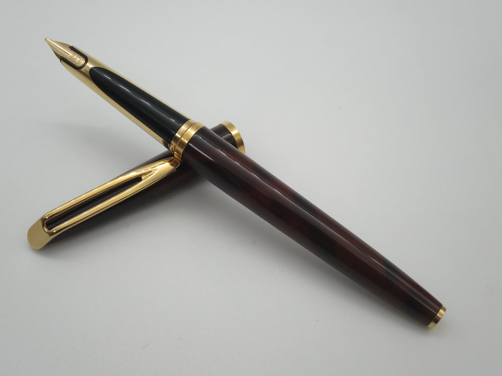 Rare Vintage Waterman C/F Fountain Pen Tortoiseshell Lacque 18k Gold Nib - Serviced - Grand Vision Pens
