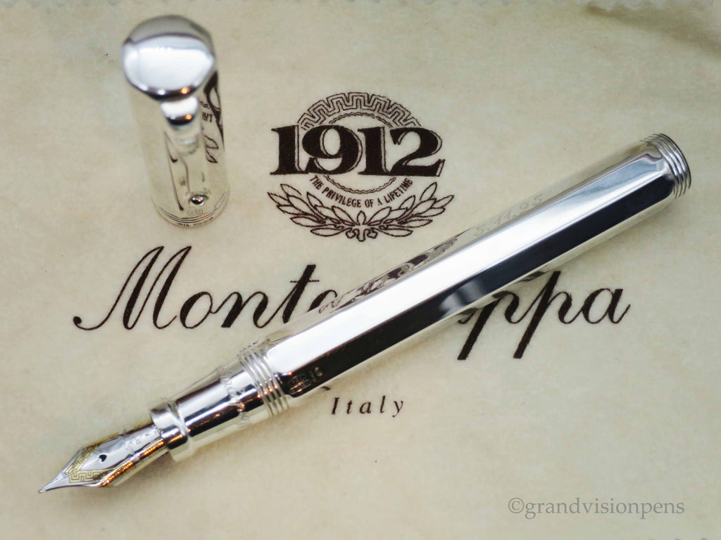 Boxed Montegrappa Reminiscence Solid 925 Sterling Silver Large Fountain Pen 18k FINE Nib (Excellent) - Grand Vision Pens UK