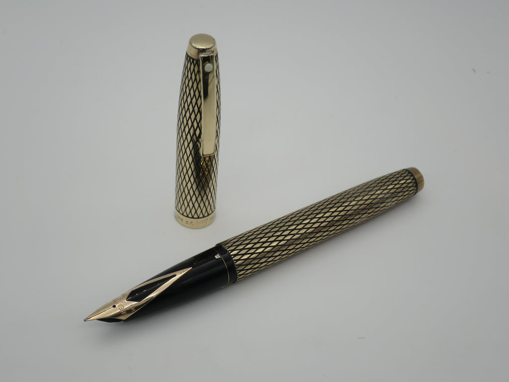 Boxed Vintage Sheaffer Imperial Sovereign Fountain Pen Gold Filled Diamond Cut Design 14k Gold Nib - Grand Vision Pens UK