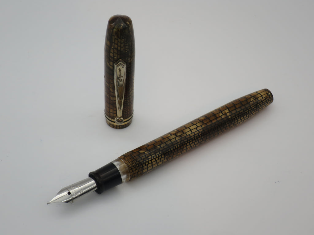 Rare Vintage PATO Brick Marble Lever Filled Fountain Fine / Medium Steel Nib Serviced - Grand Vision Pens UK
