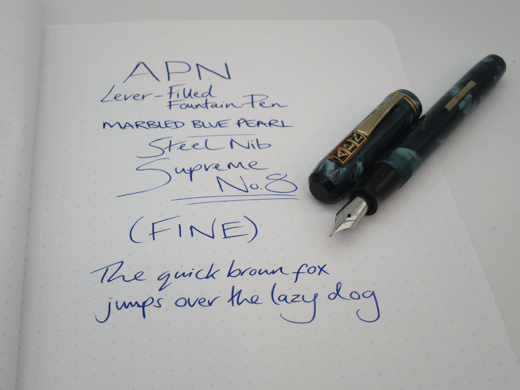 Rare Vintage APN Blue Marble Lever Filled Fountain FINE Steel Nib Serviced - Grand Vision Pens UK